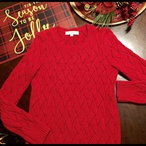 🌐 Loft by Ann Taylor Red Sweater 🌐